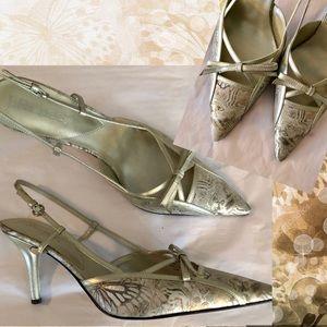 J Renee Heels 12 Wide Silver Champagne